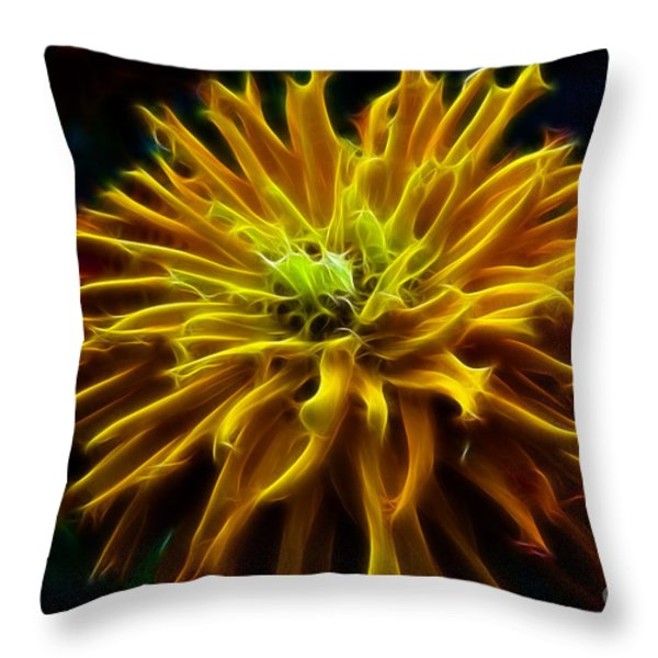 Golden Zinnia Glow Throw Pillow by Darleen Stry
