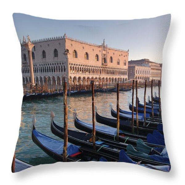 Gondolas Docked Outside Of Piazza San Throw Pillow by Jim Richardson