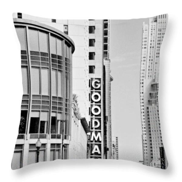 Goodman Theatre Center Chicago Throw Pillow by Christine Till