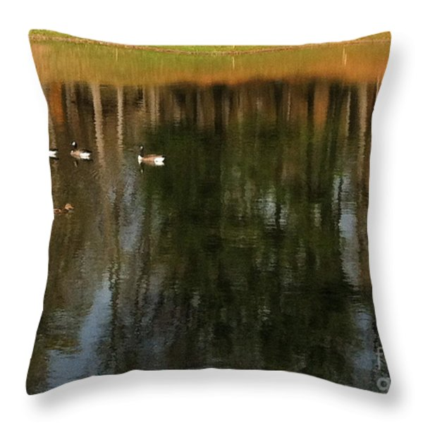 Goose Goose Duck Goose Throw Pillow by Trish Hale