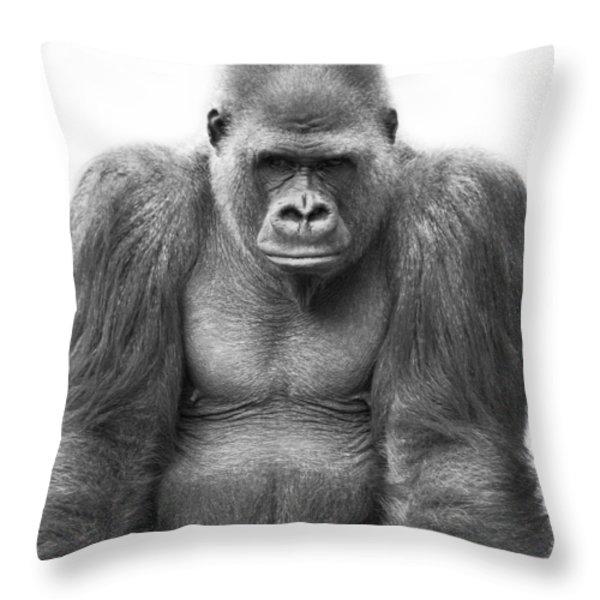Gorilla Throw Pillow by Darren Greenwood