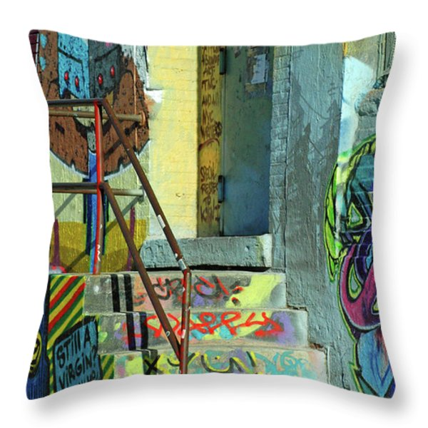 Graffiti Steps Wall Art Throw Pillow by adSpice Studios