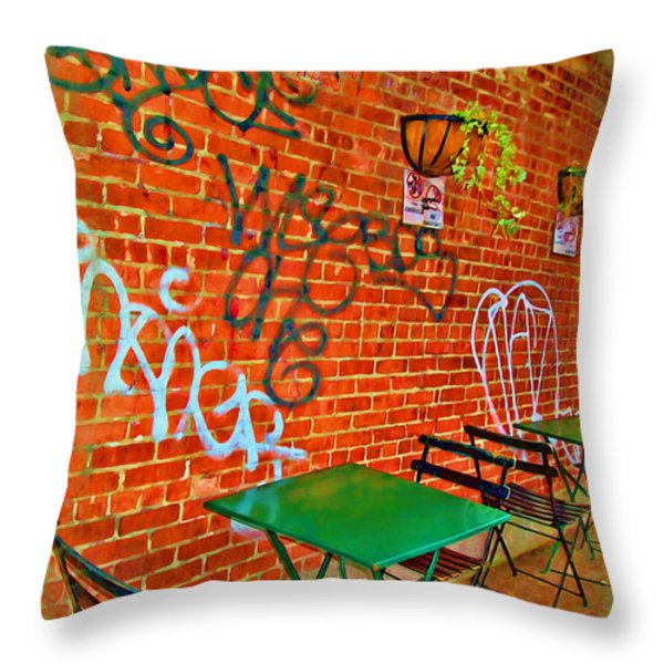 Grafitti Dining Throw Pillow by Joan  Minchak