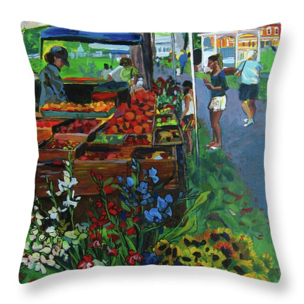 Grafton Farmer's Market Throw Pillow by Allison Coelho Picone