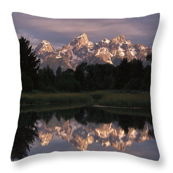 Grand Teton Range And Cloudy Sky Throw Pillow by Tim Fitzharris
