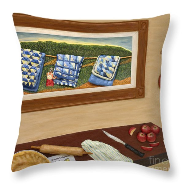Grandma's Apple Pie Throw Pillow by Anne Klar