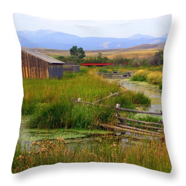 Grant Khors Ranch Deer Lodge  Mt Throw Pillow by Marty Koch