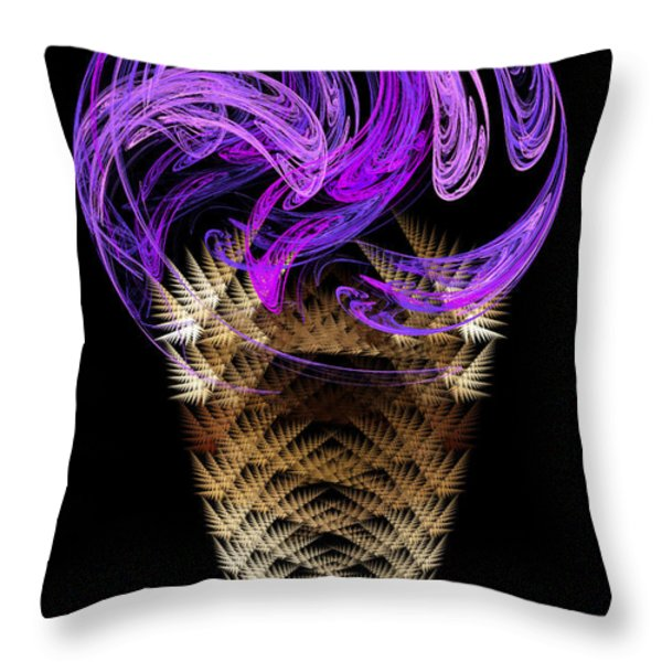 Grape Ice Cream Cone Throw Pillow by Andee Design
