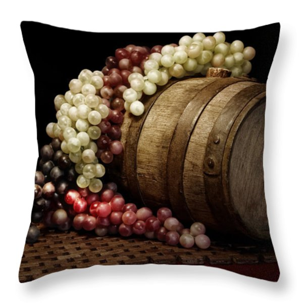 Grapes and Wine Barrel Throw Pillow by Tom Mc Nemar