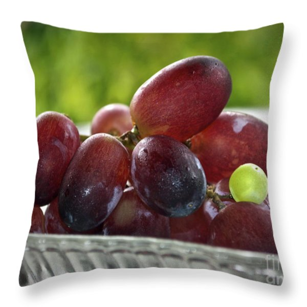 Grapes Throw Pillow by Gwyn Newcombe