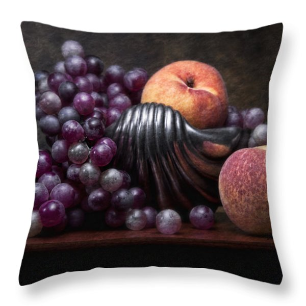 Grapes With Peaches Throw Pillow by Tom Mc Nemar