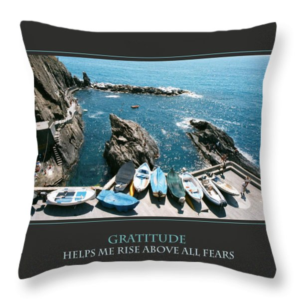 Gratitude Helps Me Rise Above All Fears Throw Pillow by Donna Corless