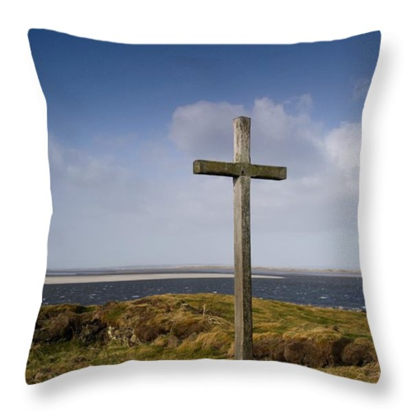 Grave Site Marked By A Cross On A Hill Throw Pillow by John Short