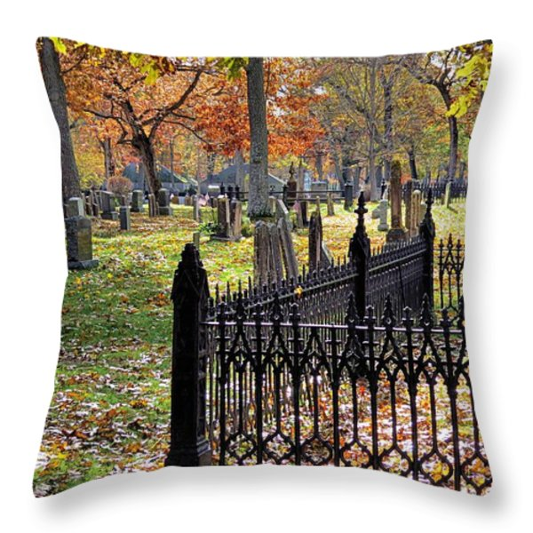 Gravestones Throw Pillow by Janice Drew