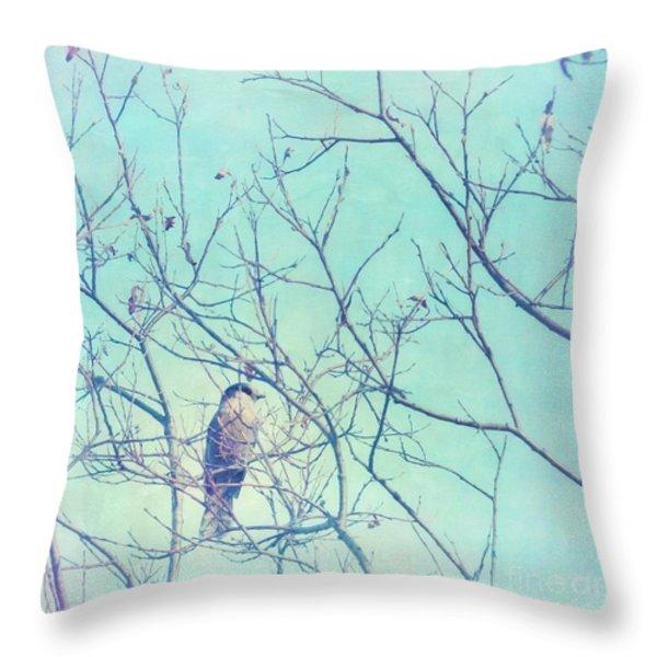Gray Jay In A Tree Throw Pillow by Priska Wettstein