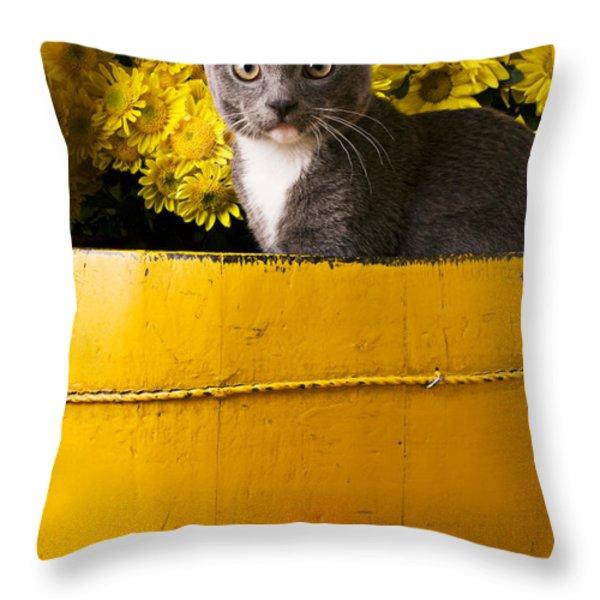 Gray Kitten In Yellow Bucket Throw Pillow by Garry Gay