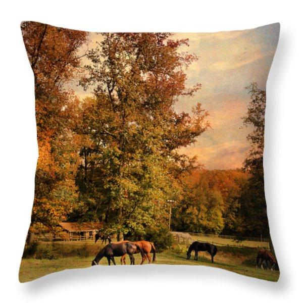 Grazing in Autumn Throw Pillow by Jai Johnson