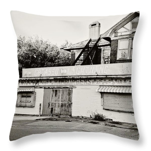 Greased Lightning Throw Pillow by Scott Pellegrin