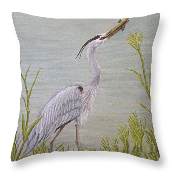 Great Blue Heron Throw Pillow by Jim Ziemer