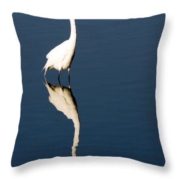 Great Egret Reflected Throw Pillow by Sally Weigand