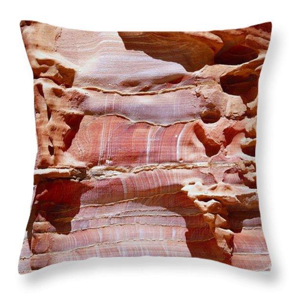 Great Wall of Petra Jordan Throw Pillow by Eva Kaufman