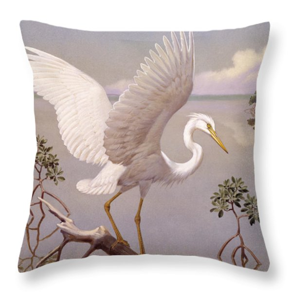 Great White Heron, White Morph Of Great Throw Pillow by Walter A. Weber