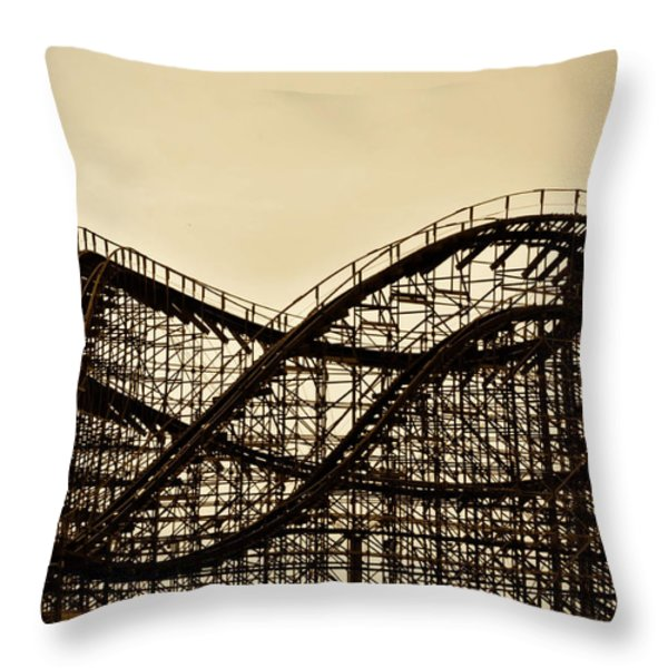 Great White Roller Coaster - Adventure Pier Wildwood NJ in Sepia Throw Pillow by Bill Cannon