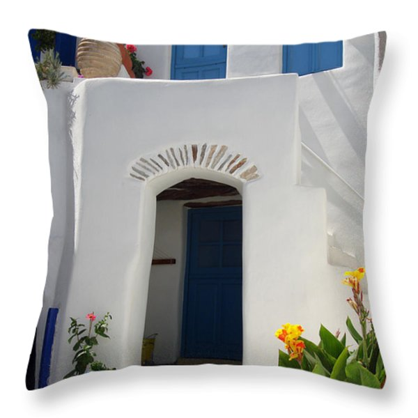 Greek Doorway Throw Pillow by Jane Rix