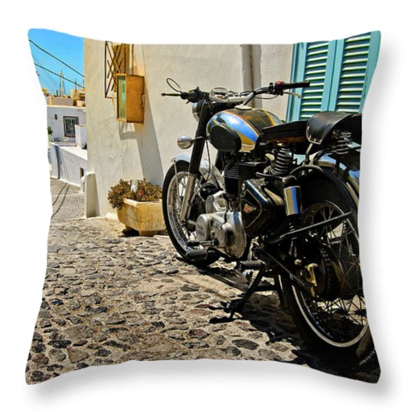 Greek Island Royal Enfield Throw Pillow by Meirion Matthias