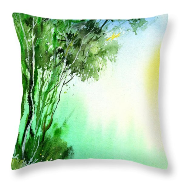 Green 1 Throw Pillow by Anil Nene
