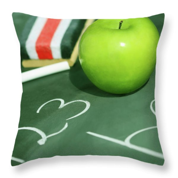 Green apple for school Throw Pillow by Sandra Cunningham