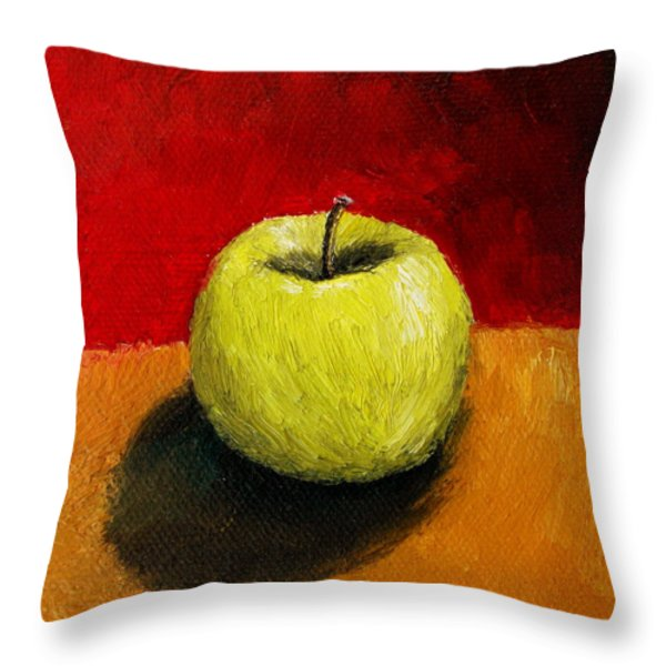 Green Apple with Red and Gold Throw Pillow by Michelle Calkins