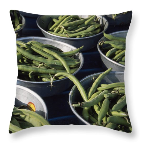 Green Beans In Tin Buckets For Sale Throw Pillow by David Evans