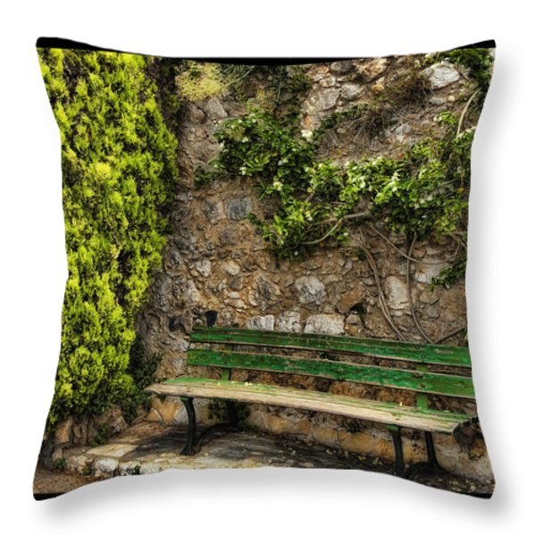 Green Bench Throw Pillow by Mauro Celotti