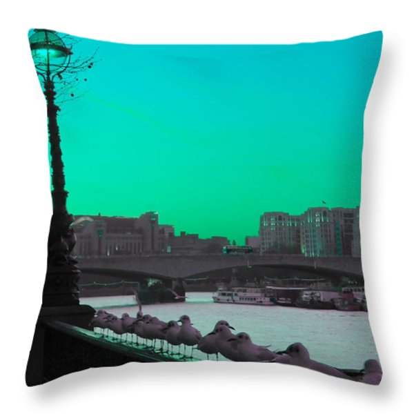 Green Day In London Throw Pillow by Jasna Buncic