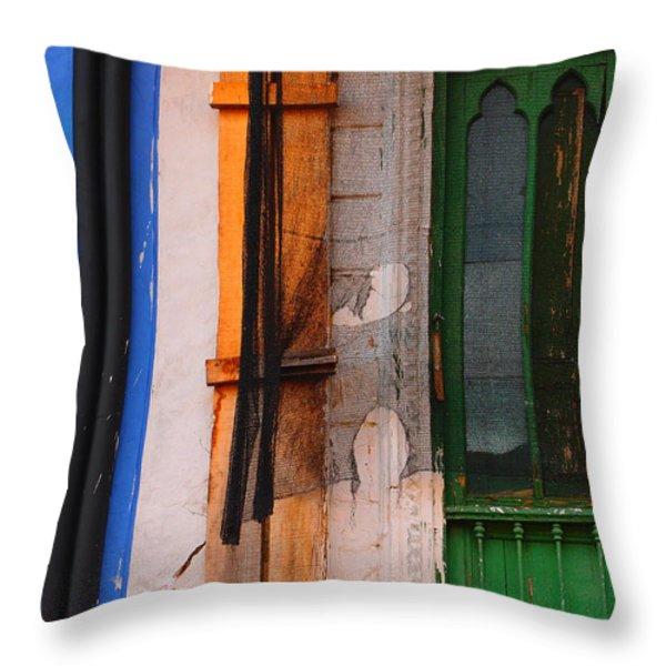 Green Door Throw Pillow by Skip Hunt