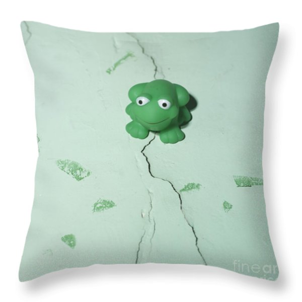 Green frog Throw Pillow by BERNARD JAUBERT