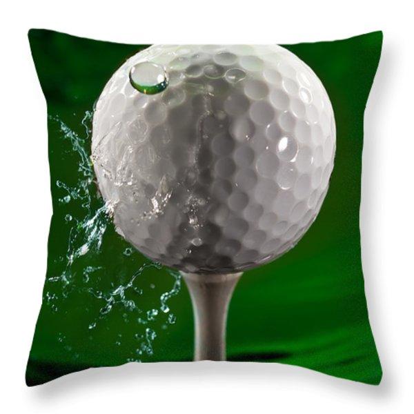 Green Golf Ball Splash Throw Pillow by Steve Gadomski