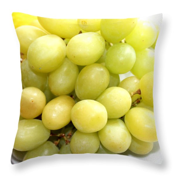 Green Grapes and Mum Throw Pillow by Barbara Griffin