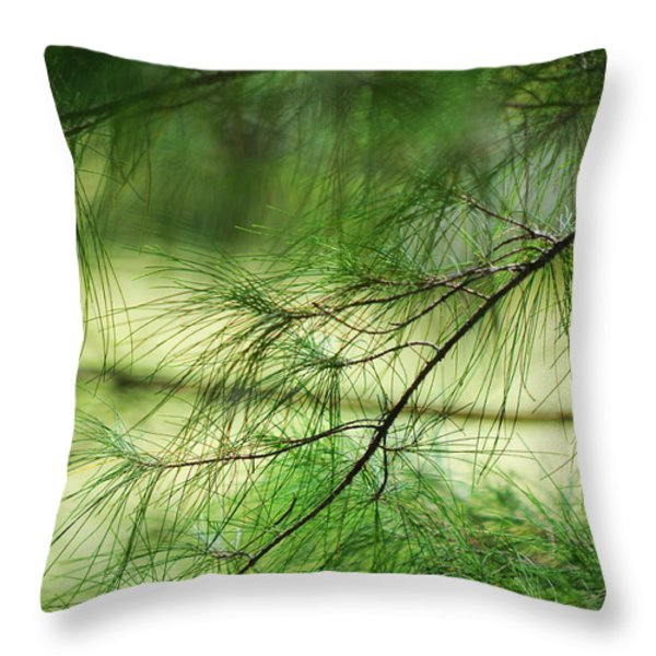 Green Light Throw Pillow by Jenny Rainbow