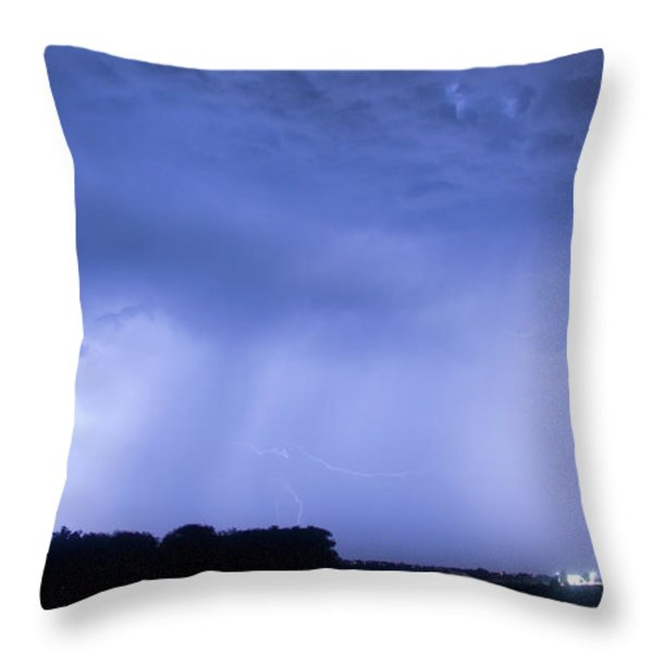 Green Lightning Bolt Ball and Blue Lightning Sky Throw Pillow by James BO  Insogna