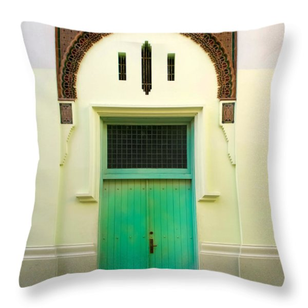 Green Spanish Doors Throw Pillow by Perry Webster