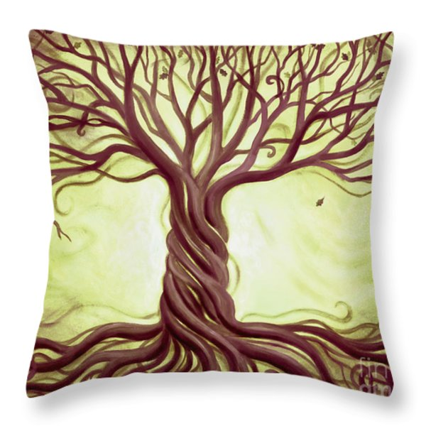 Green Tree of Life Throw Pillow by Renee Womack