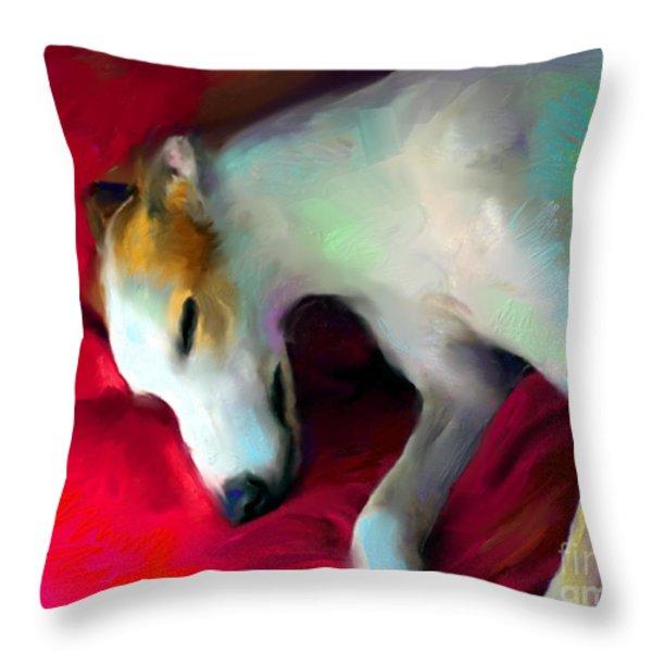 Greyhound Dog portrait  Throw Pillow by Svetlana Novikova