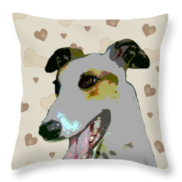 Greyhound Throw Pillow by One Rude Dawg Orcutt
