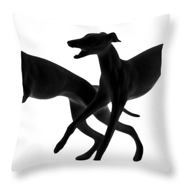 Greyhounds travelling at 45 MPH Throw Pillow by Christine Till