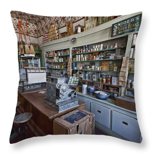 Grocery Store Of Yesteryear - Virginia City Montana Ghost Town Throw Pillow by Daniel Hagerman