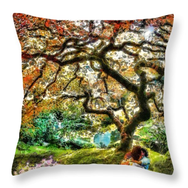 Growing Throw Pillow by Mo T