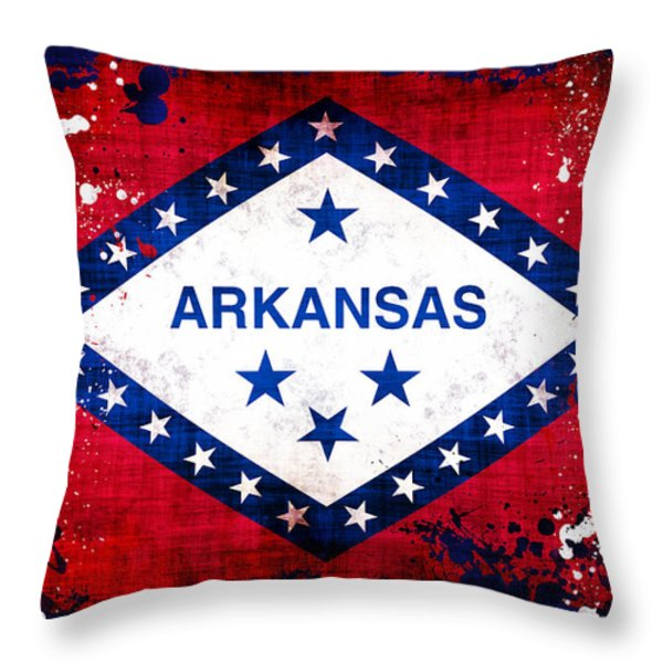 Grunge Style Arkansas Flag Throw Pillow by David G Paul