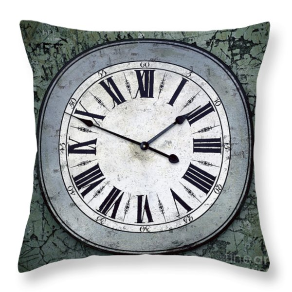 Grungy Clock Throw Pillow by Carlos Caetano
